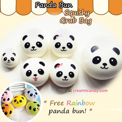 Panda Bun Squishy Mini : Cute Panda Buns squishy grab bag! *free mini rainbow panda bun*
