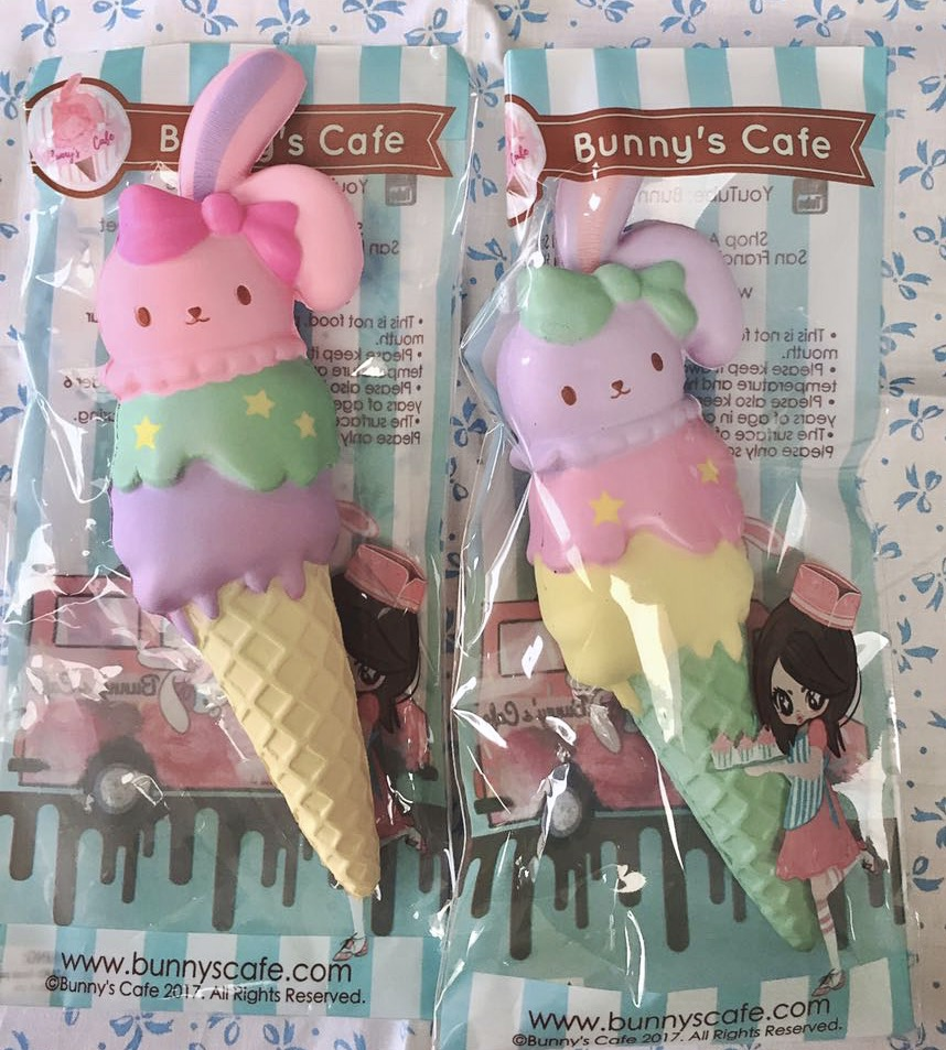 Super squishy Bunnyscafe Bunny icecream triple scoop squishy