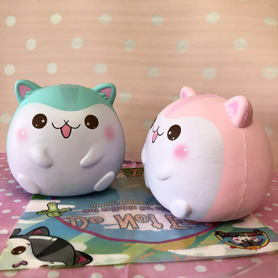 Giant Squishy Toys : SUPER Fat fat poli the hamster ~ mint and strawberry version *licensed*