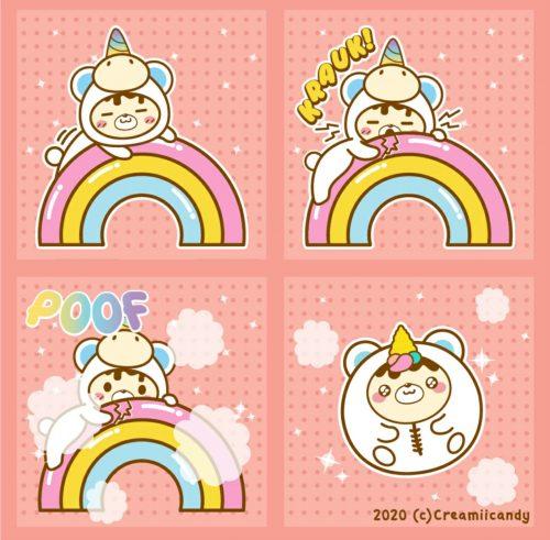 Yummiibear unicorn cartoon