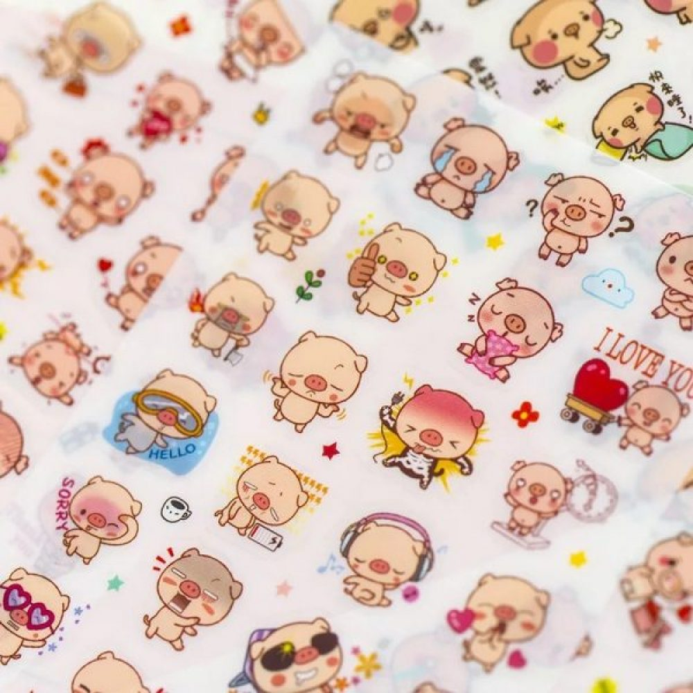 Cute kawaii piggy planner stickers sheets