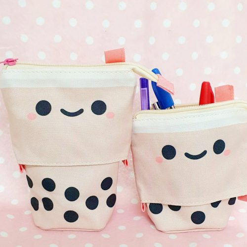 Boba Tea Pencil case Bubble Tea Pencil case Cute Retractable Pencil cases that stand up