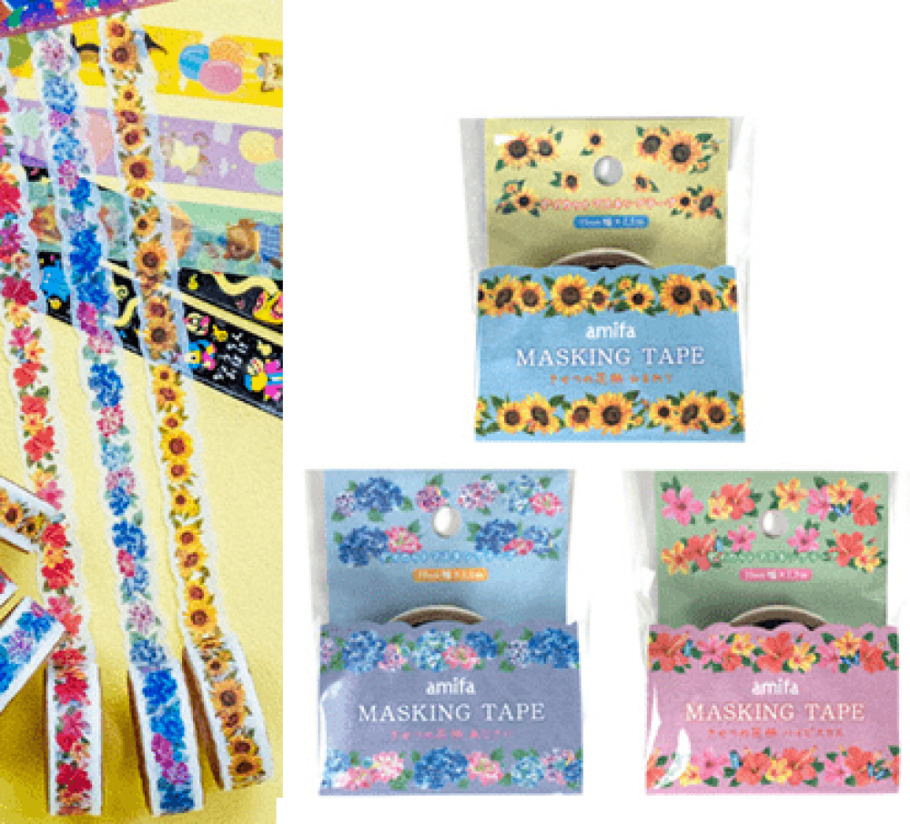 amifa-sunflowers-and-flowers-washi-tape