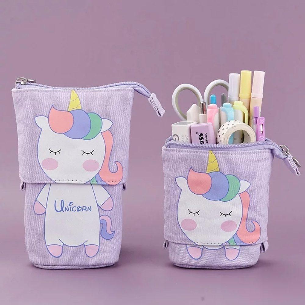 Unicorn Pencil case: Cute Rainbow Purple Retractable Standing Pencil Case