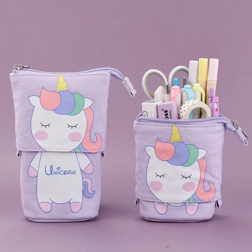 Unicorn Pencil case: Cute Rainbow Purple Retractable Standing Pencil Case