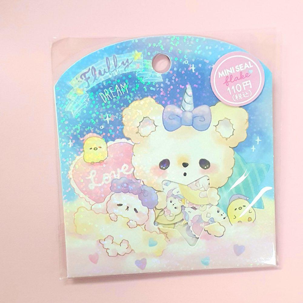 fluffy dream rabbit and bears crux japan sticker flakes sack