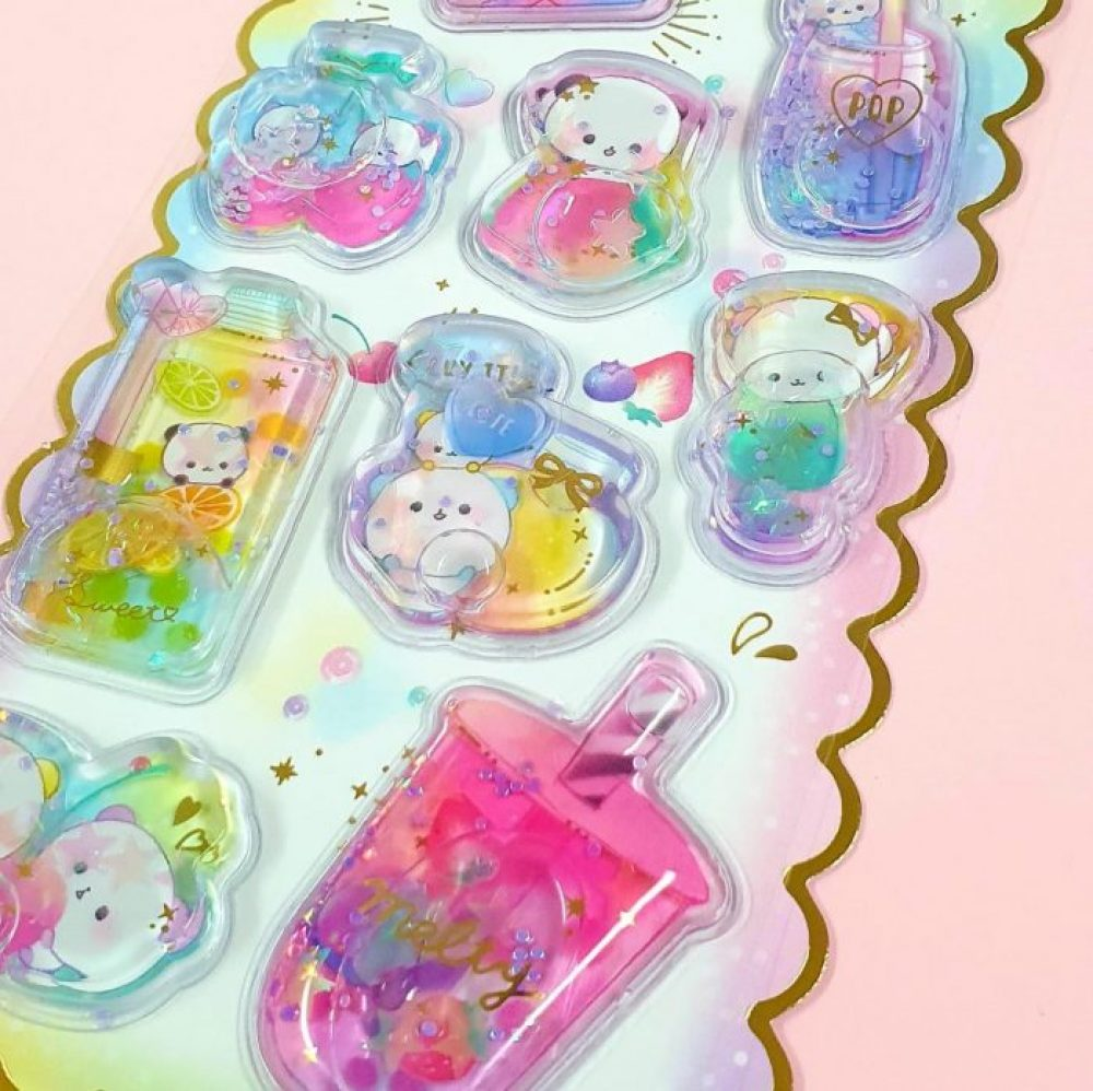 Kawaii super puffy Panda Water Filled stickers by Crux Japan