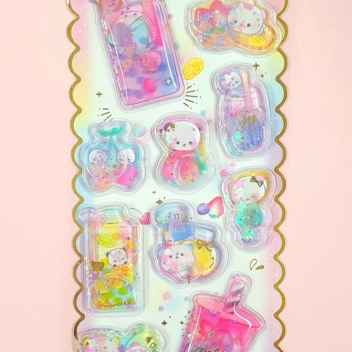 Kawaii super puffy Panda Water Filled stickers by Crux Japan