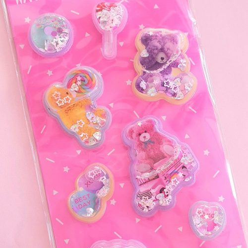 Puffy glitter water candy bear stickers