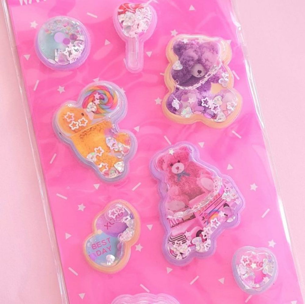 Puffy glitter water candy bear stickers