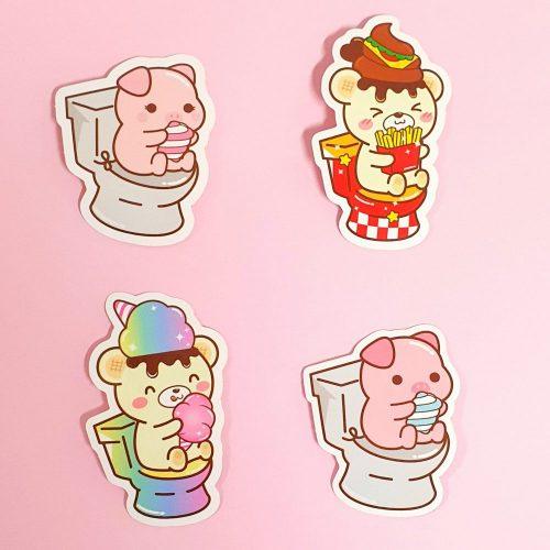 cute funny toilet bear piggy stickers vinyl stickers yummiibear