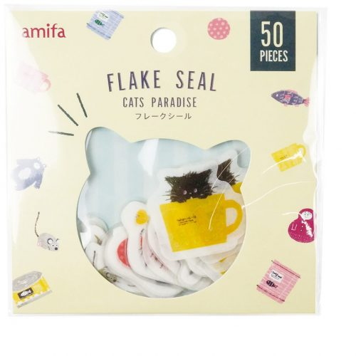 cat paradise cats in kitty cups japanese sticker flakes amifa