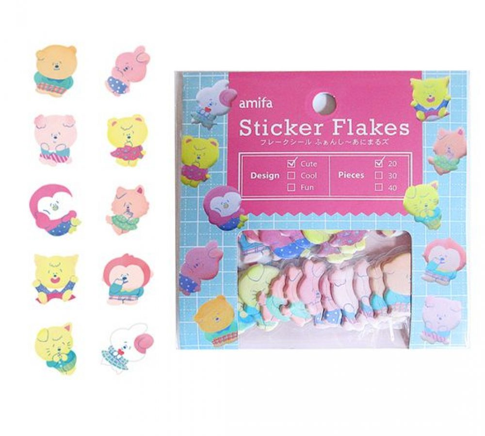 kawaii amifa sticker flakes kawaii rabbits puffy 2.