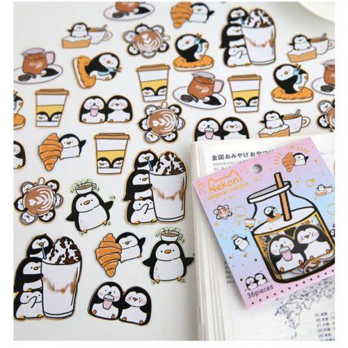 cute penguin cafe sticker