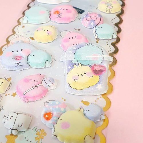 cute bunny dog bear puffy 3d super jumbo stickers japan shop