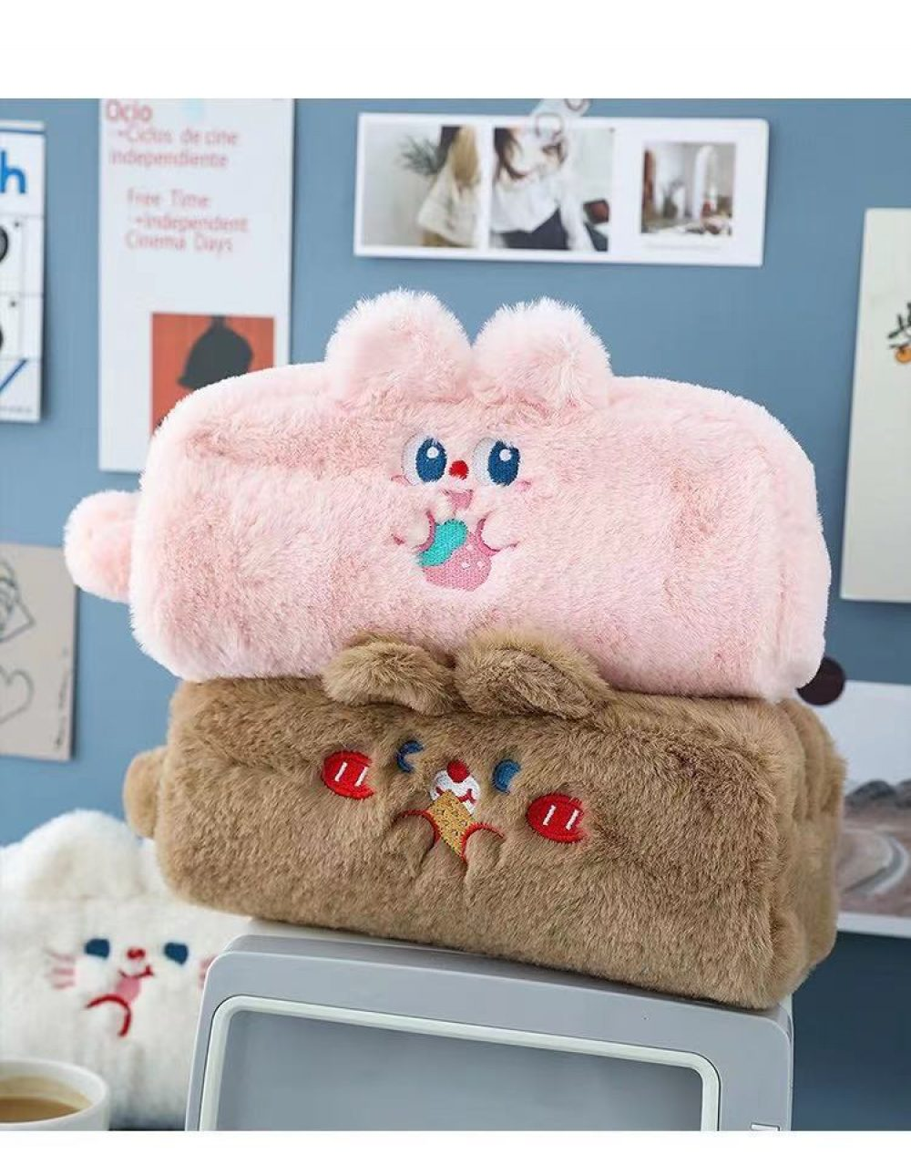cute bunny rabbit pencil case plush