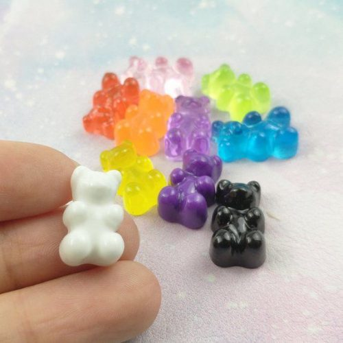 Cute gummy bear candy resin cabochons 10 pieces mix