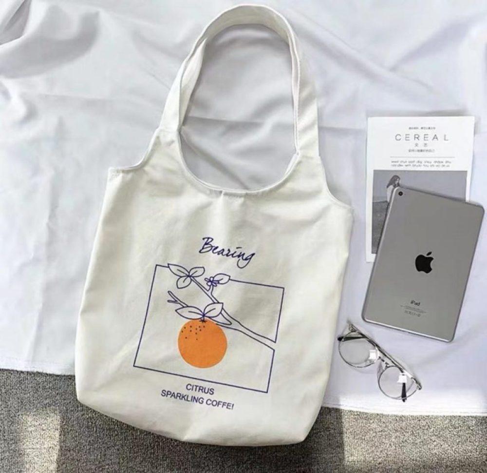 orange fruit tote canvas bag shopping bag