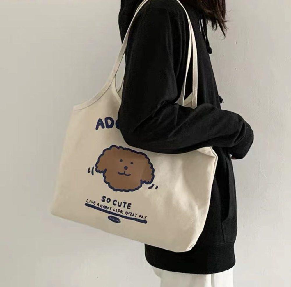 Puppy Tote canvas bag