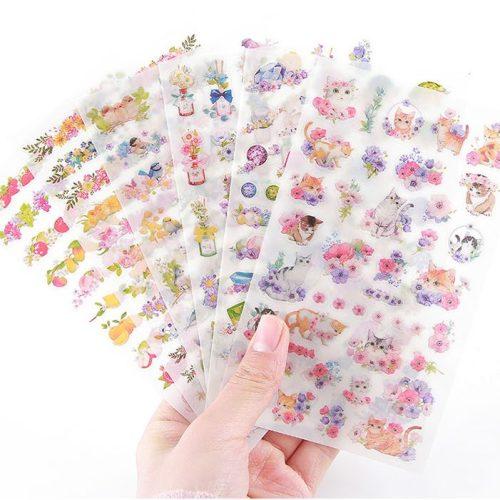 pretty kitten cat flowers birds bottles stickers