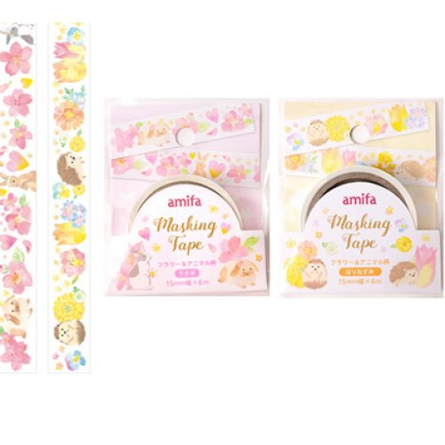 amifa japan hedgehog and bunny masking washi tape