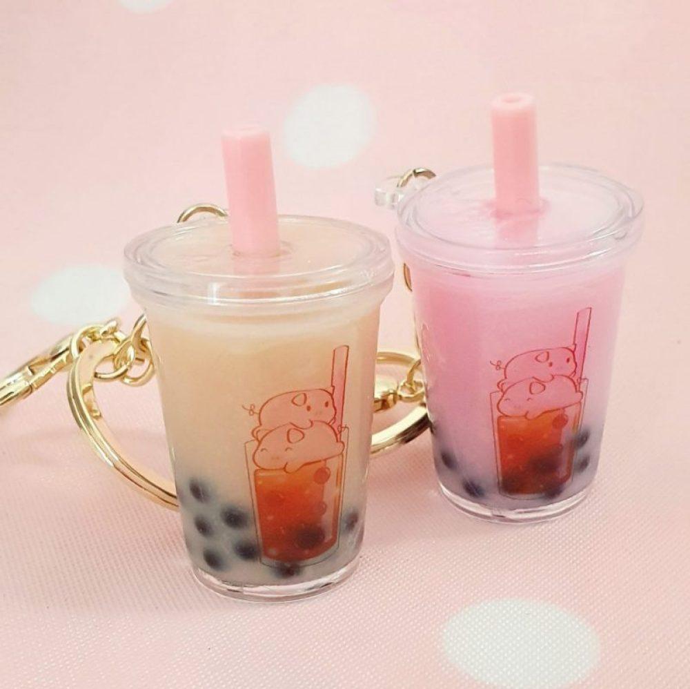 Boba tea milk tea kawaii liquid charm keychain tapioca pearls piggy charms