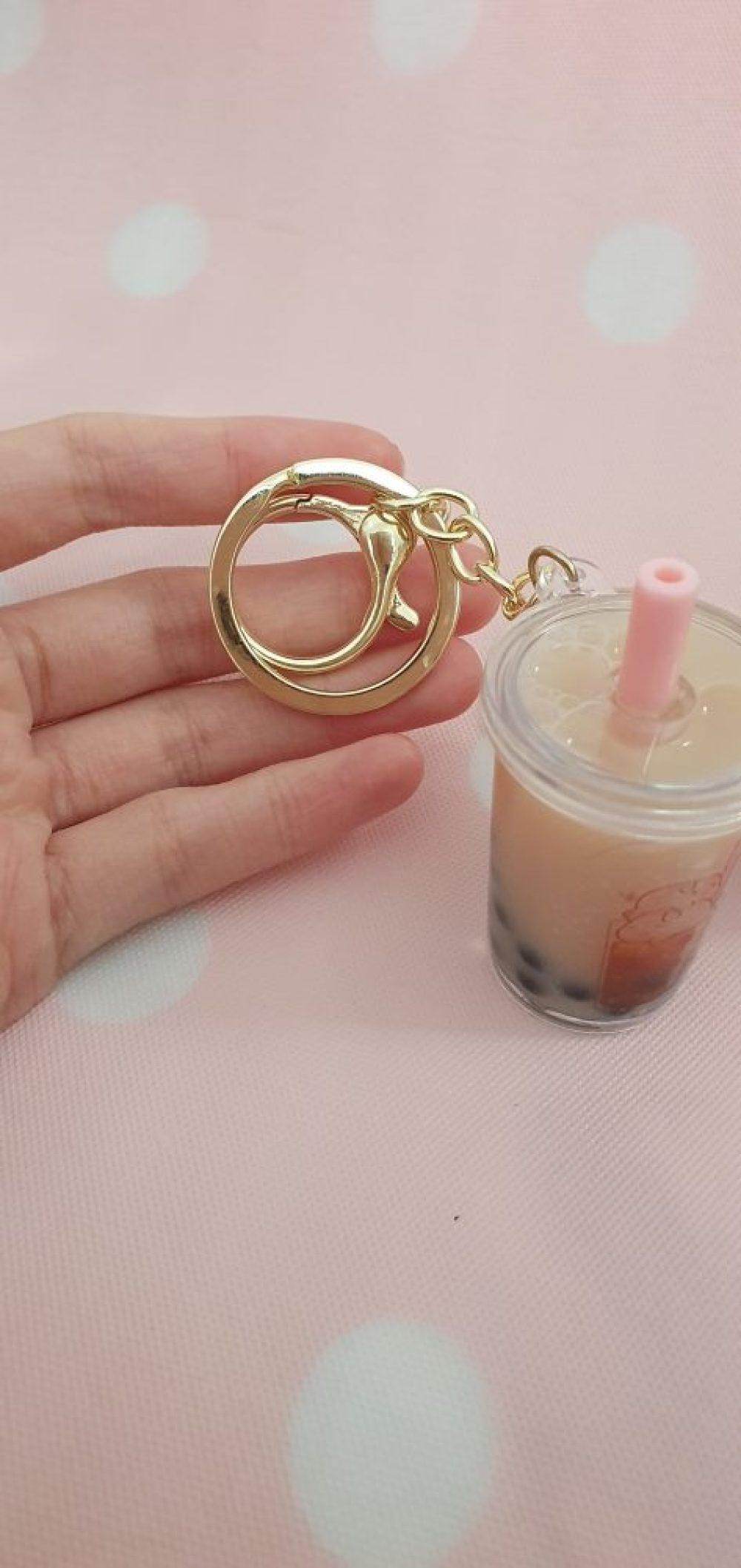 Boba tea milk tea kawaii liquid charm keychain tapioca pearls