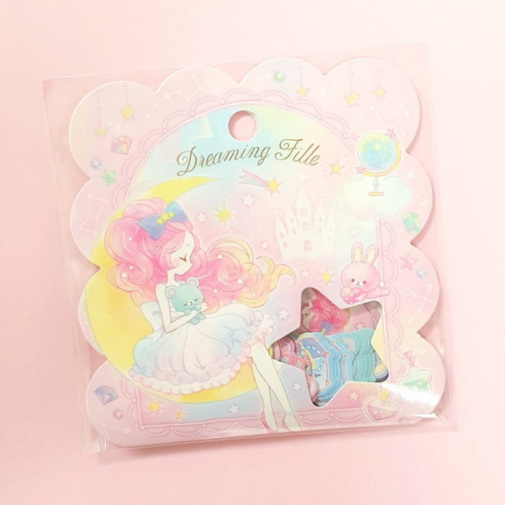 kawaii girl teddy bear pastel dreaming fill aesthetic sticker flakes