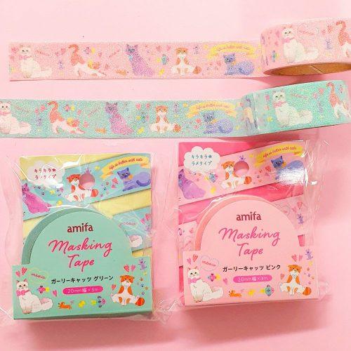glitter cat kitten washi tape cute kawaii