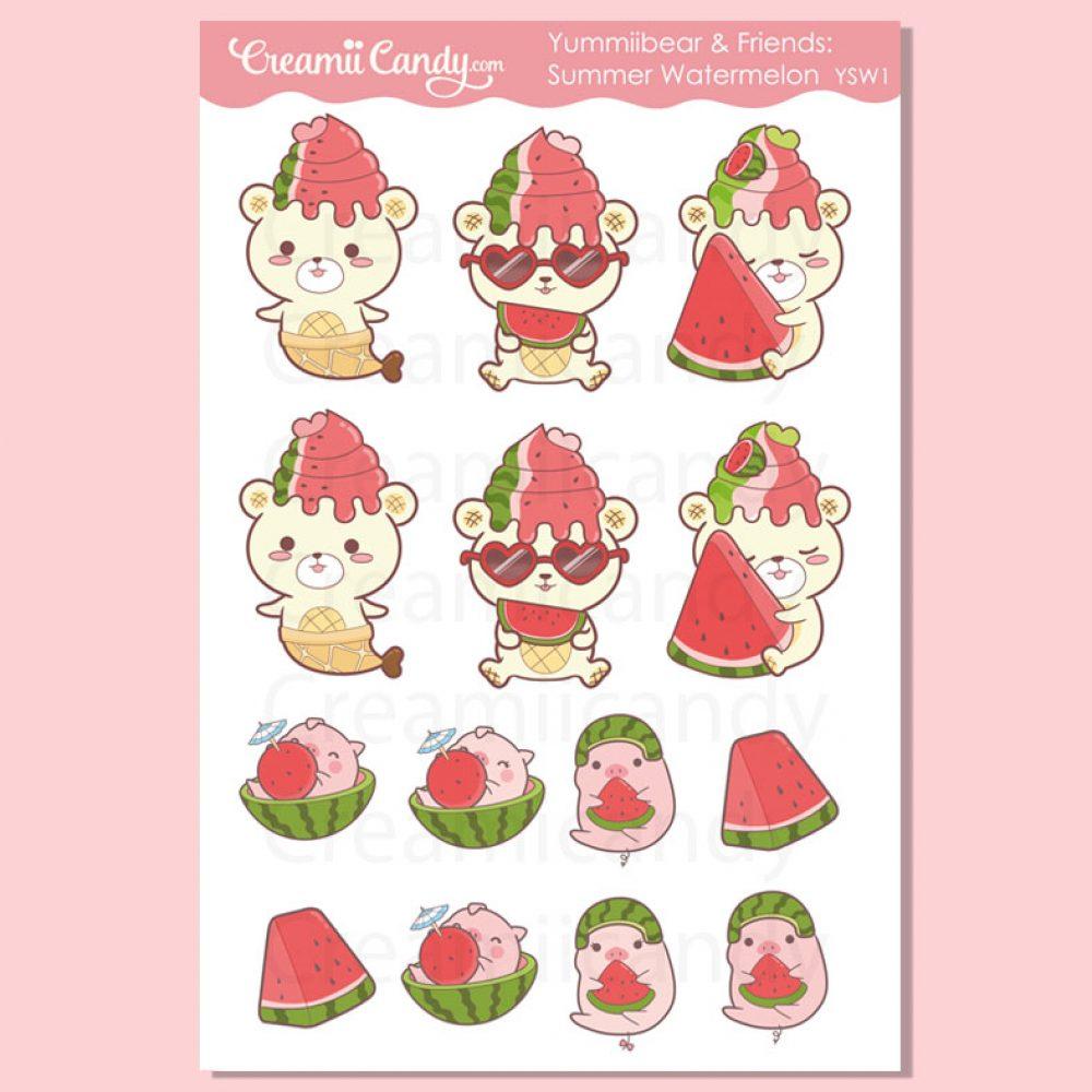 cute-bear-planner-stickers-watermelon-stickers-sheet-ysw1-yummiibear-pigs