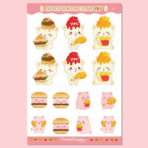 Cute burger fries kfc pigs planners stickers sheet bear chicken