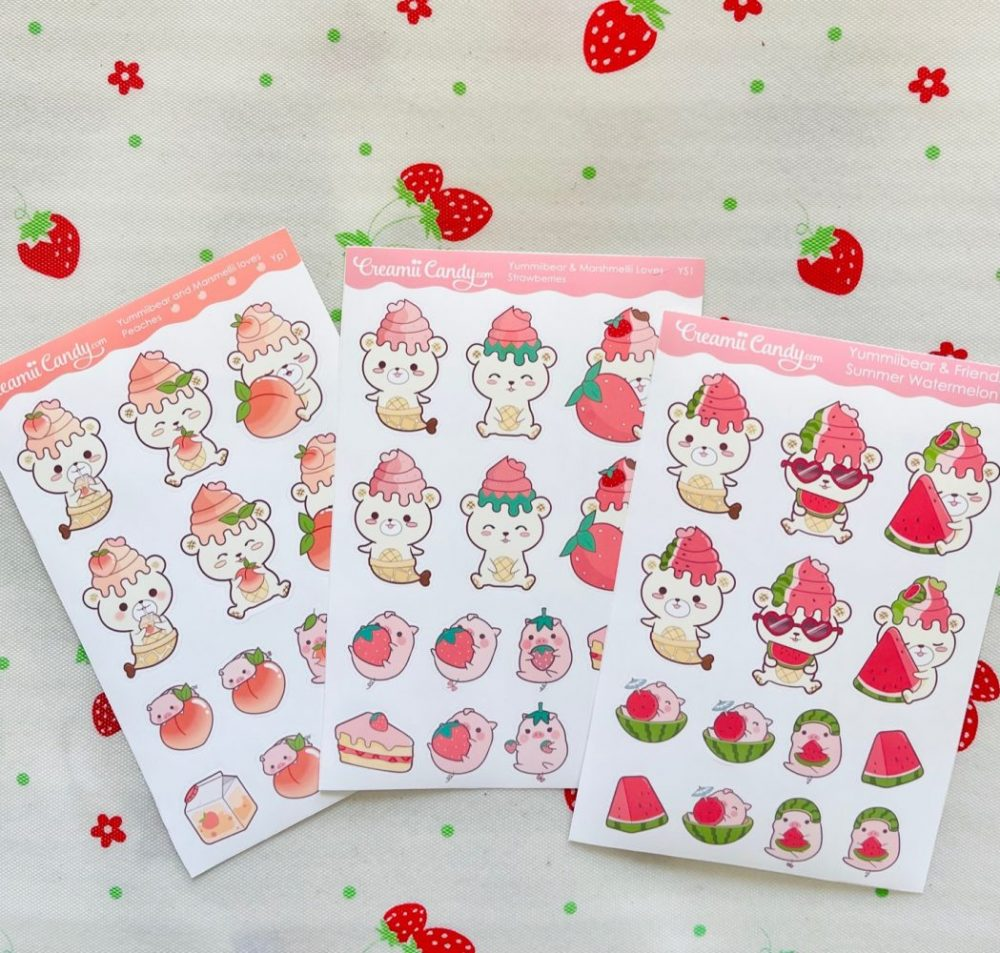 cute-fruits-sticker-sheets-bears-and-pig