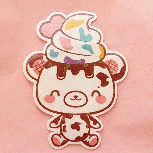 holographic-cow-bear-vinyl-sticker