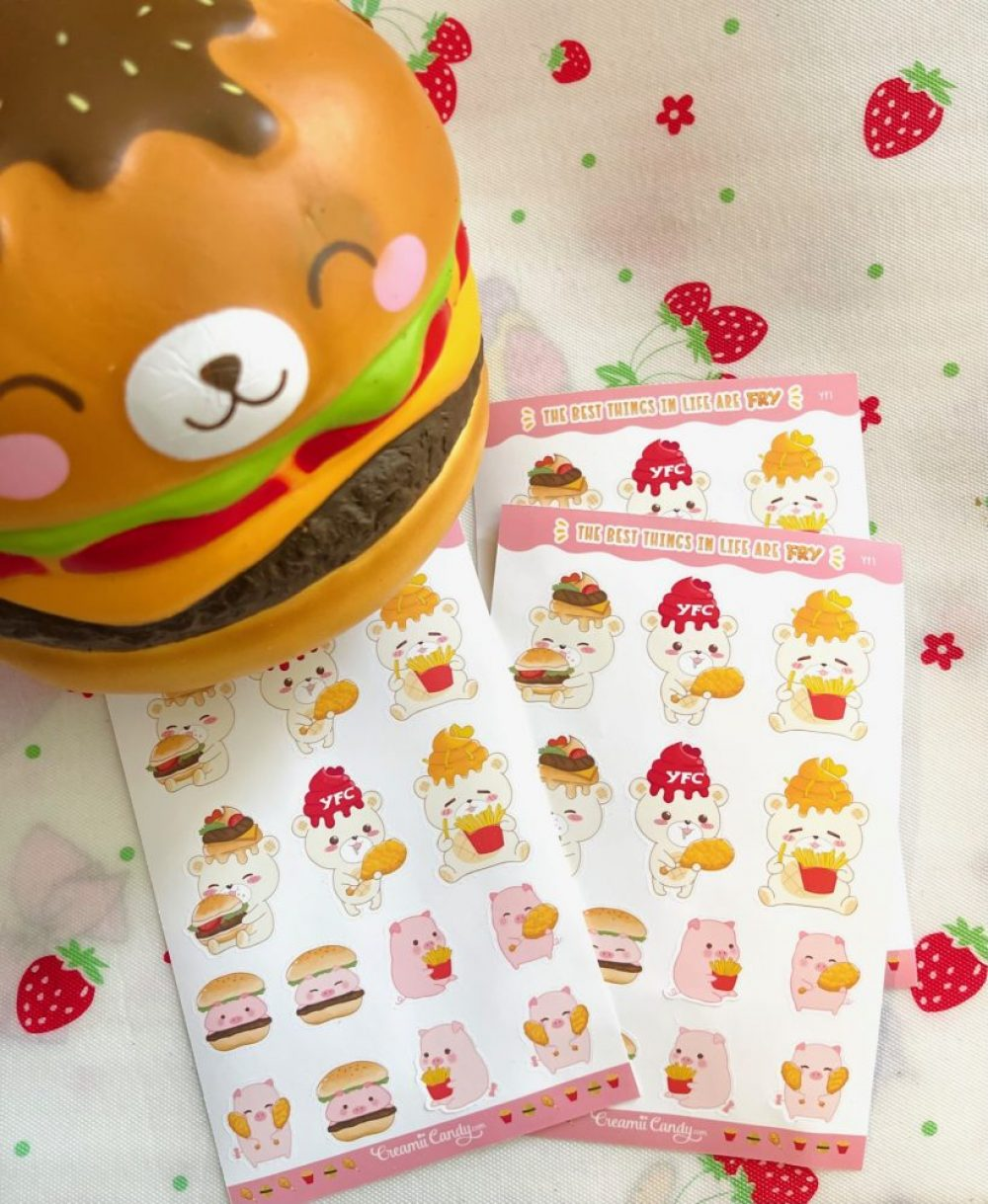 Burger and fries stickers sheet