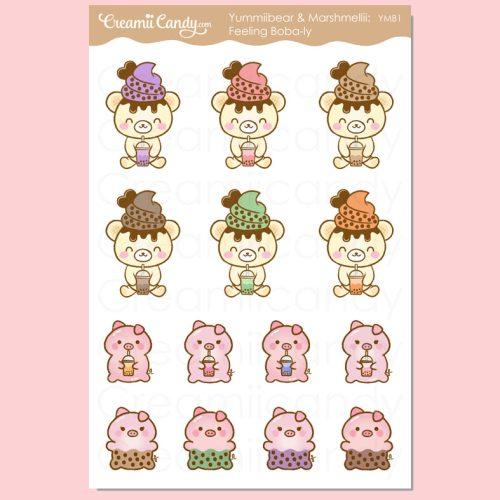 kawaii-boba-tea-piggy-bear-stickers-sheet-milk-tea-bubble-tea