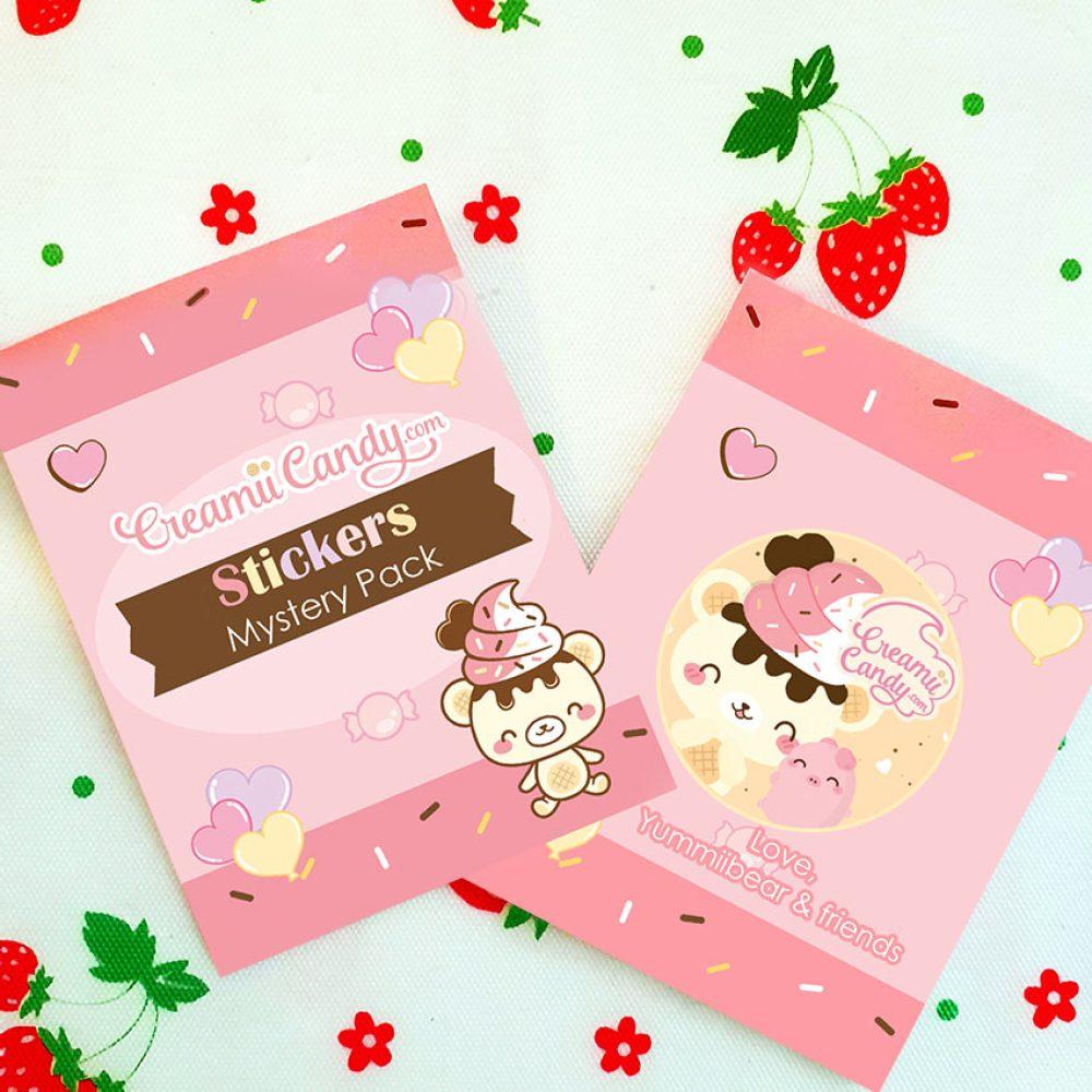 kawaii cute vinyl mystery sticker pack bag