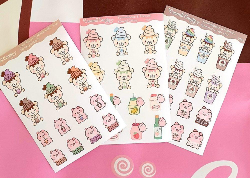Cute kawaii drinks stickers sheet