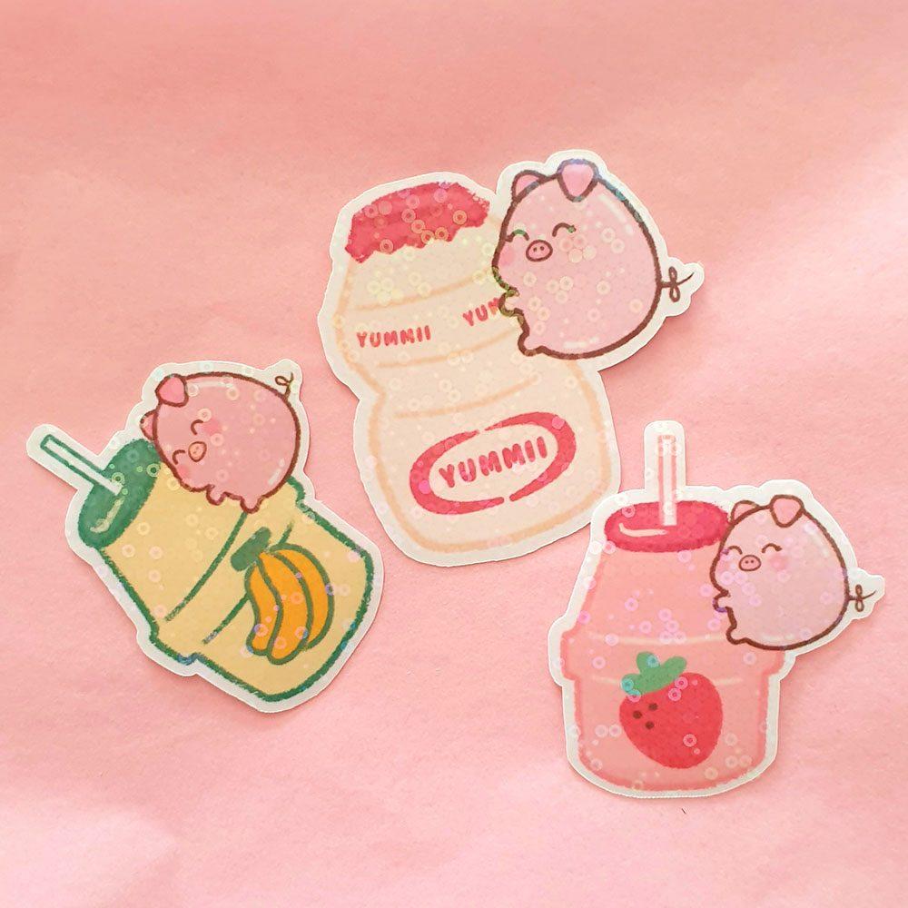 pig-asian-drinks-japanese-korean-snacks-die-cut-vinyl-waterproof-sticker
