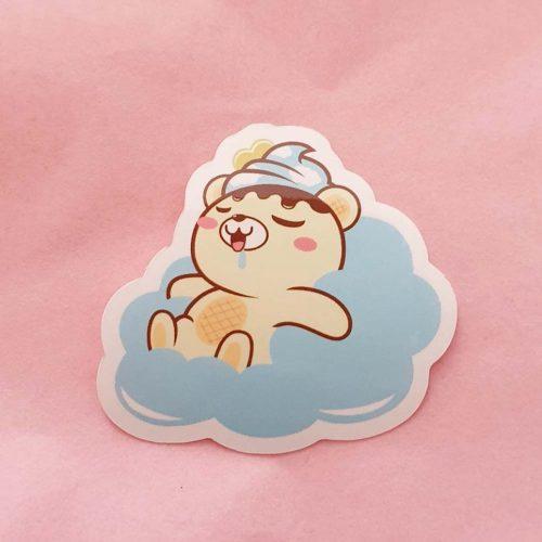 sleepy cute bear cloud waterproof sticker