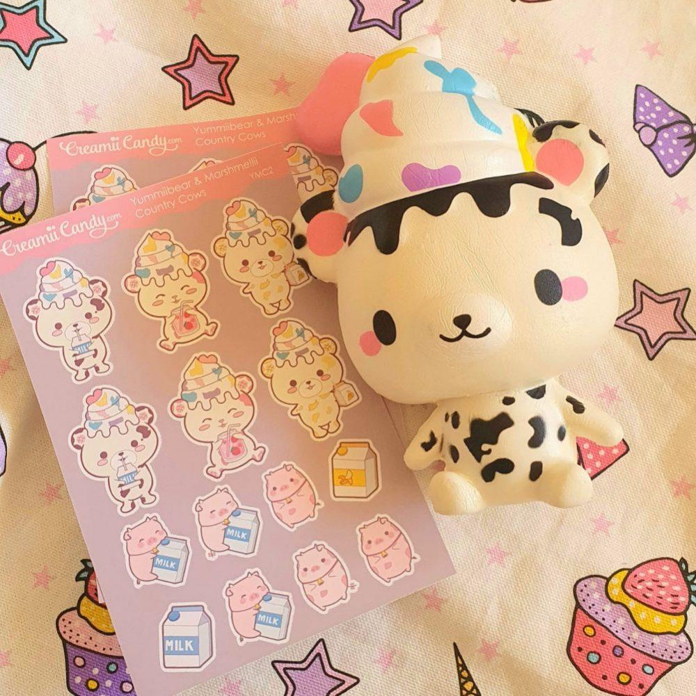 cute kawaii cow bear pig stickers sheet