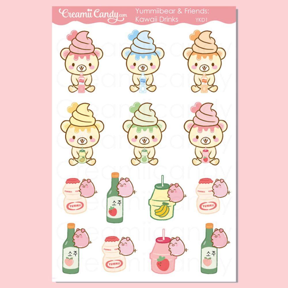 kawaii bear drinks calpico Soju stickers sheet