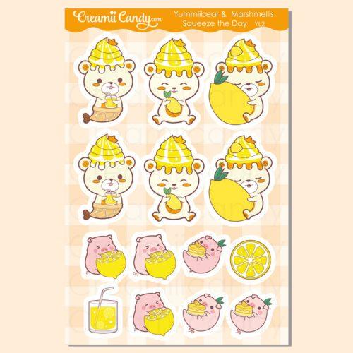 cute-bear-lemon-stickers-sheet-kawaii